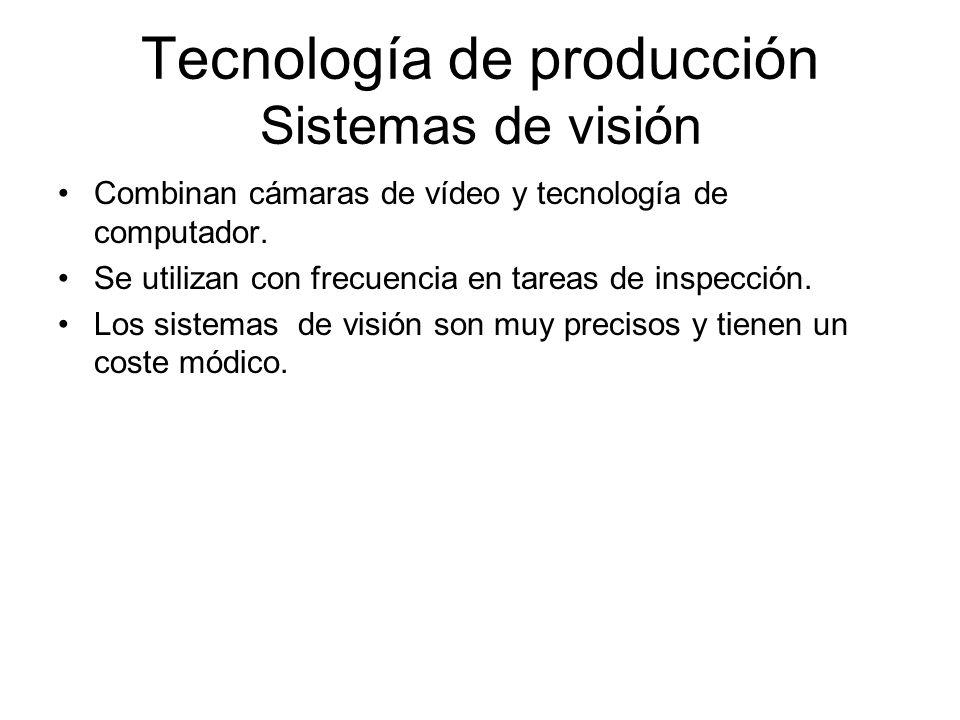 Tecnología de producción Sistemas de visión Combinan cámaras de vídeo y tecnología de computador. Se utilizan con frecuencia en tareas de inspección.