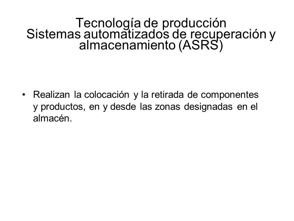 Tecnología de producción Sistemas automatizados de recuperación y almacenamiento (ASRS) Realizan la colocación y la retirada de componentes y producto