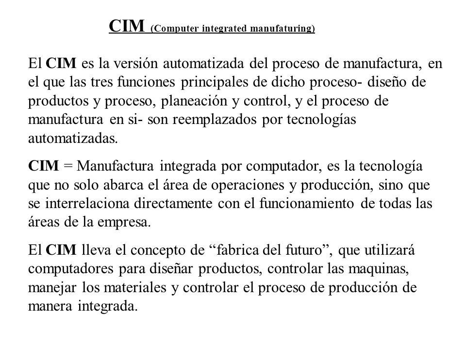 El CIM es la versión automatizada del proceso de manufactura, en el que las tres funciones principales de dicho proceso- diseño de productos y proceso