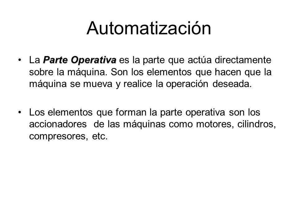 Automatización Parte de MandoLa Parte de Mando suele ser un autómata programable (tecnología programada), aunque hasta hace bien poco se utilizaban relés electromagnéticos, tarjetas electrónicas o módulos lógicos neumáticos (tecnología cableada).