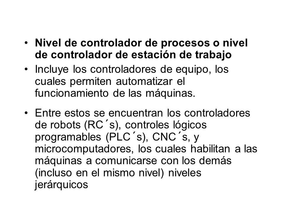 Nivel de controlador de procesos o nivel de controlador de estación de trabajo Incluye los controladores de equipo, los cuales permiten automatizar el