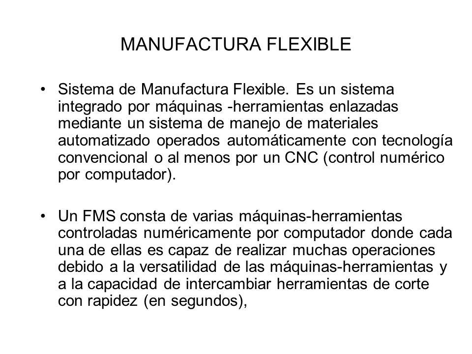 Sistema de Manufactura Flexible. Es un sistema integrado por máquinas -herramientas enlazadas mediante un sistema de manejo de materiales automatizado
