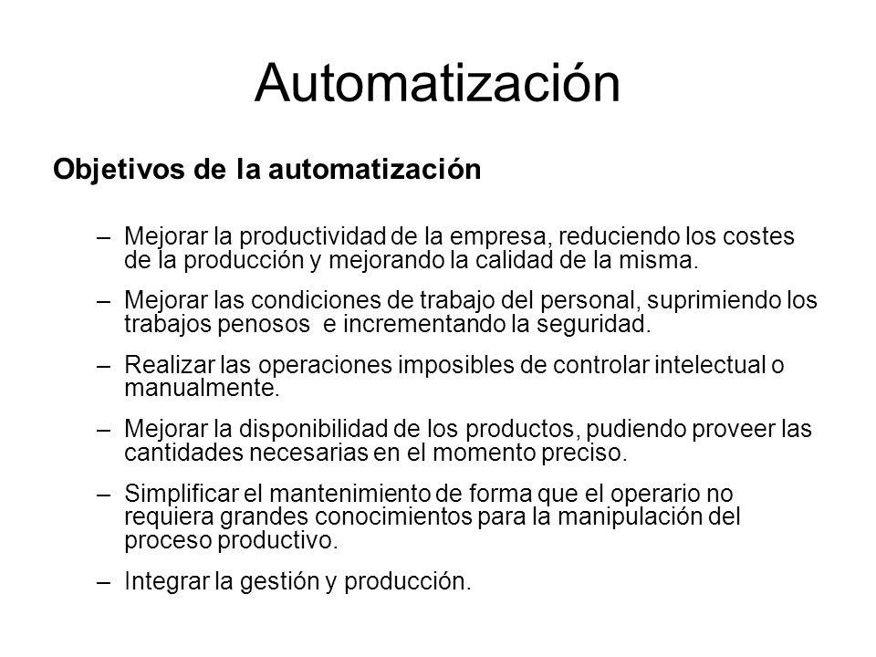 Automatización Objetivos de la automatización –Mejorar la productividad de la empresa, reduciendo los costes de la producción y mejorando la calidad d