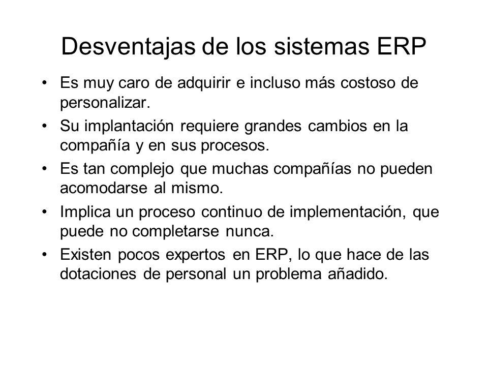 Desventajas de los sistemas ERP Es muy caro de adquirir e incluso más costoso de personalizar. Su implantación requiere grandes cambios en la compañía