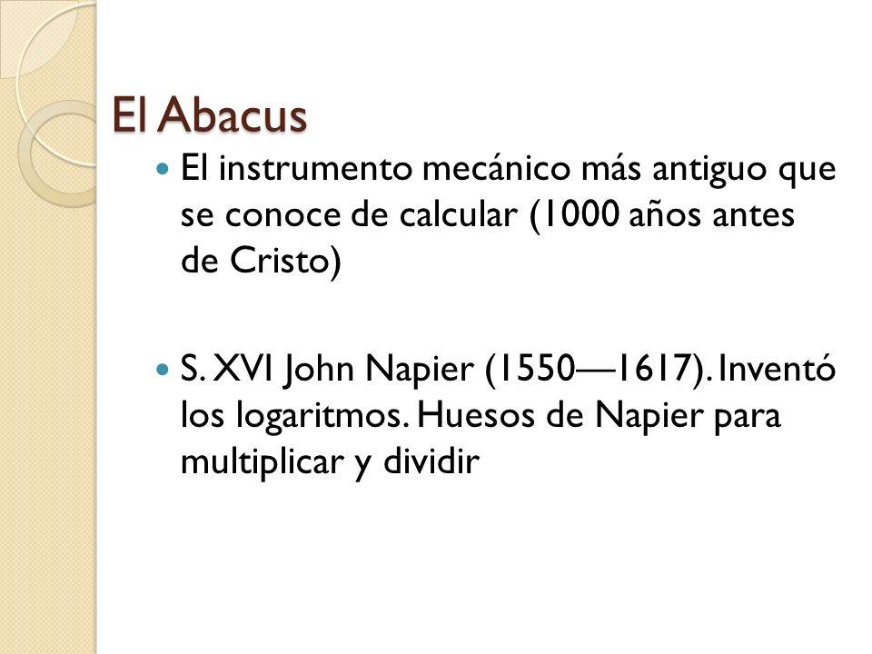 El Abacus El instrumento mecánico más antiguo que se conoce de calcular (1000 años antes de Cristo) S.