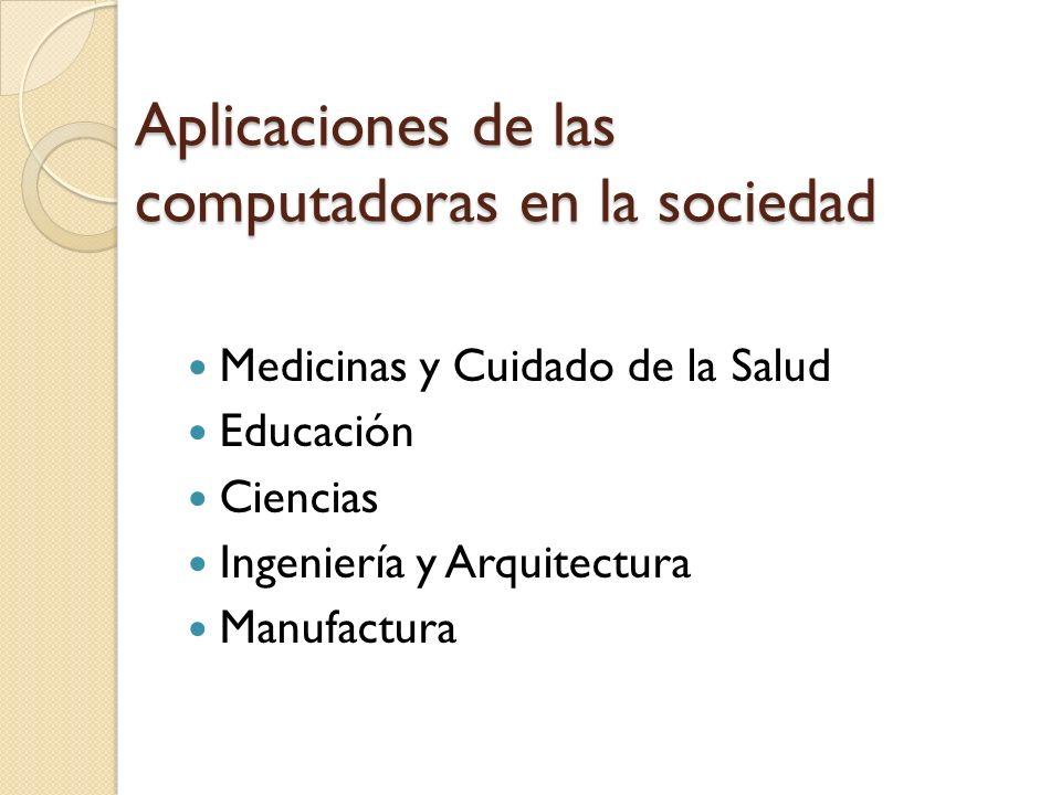 Aplicaciones de las computadoras en la sociedad Negocios Aplicaciones de manejo de transacciones Aplicaciones de productividad personal Computación en