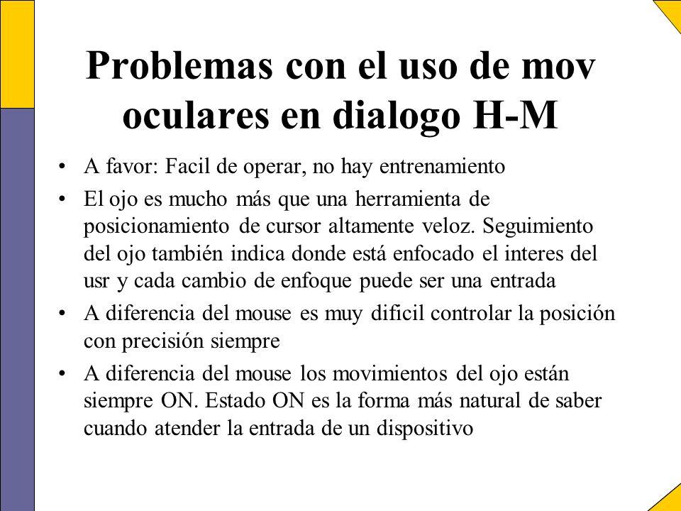 Problemas con el uso de mov oculares en dialogo H-M A favor: Facil de operar, no hay entrenamiento El ojo es mucho más que una herramienta de posicion