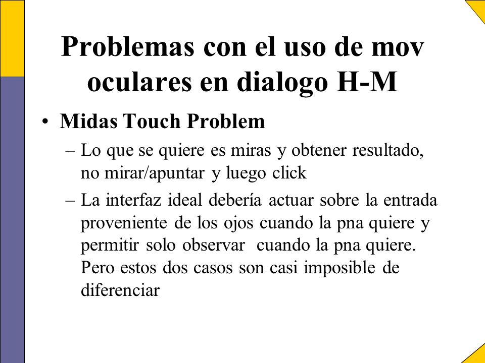 Problemas con el uso de mov oculares en dialogo H-M Midas Touch Problem –Lo que se quiere es miras y obtener resultado, no mirar/apuntar y luego click