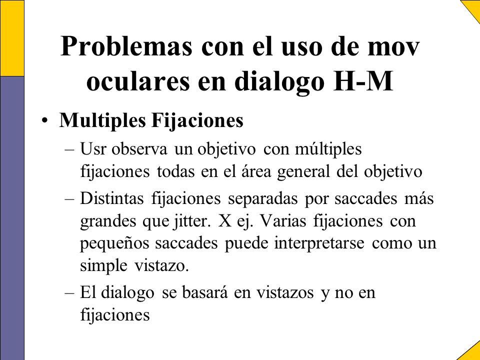 Problemas con el uso de mov oculares en dialogo H-M Multiples Fijaciones –Usr observa un objetivo con múltiples fijaciones todas en el área general de