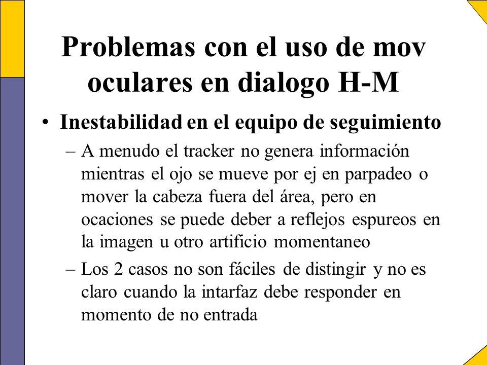 Problemas con el uso de mov oculares en dialogo H-M Inestabilidad en el equipo de seguimiento –A menudo el tracker no genera información mientras el o