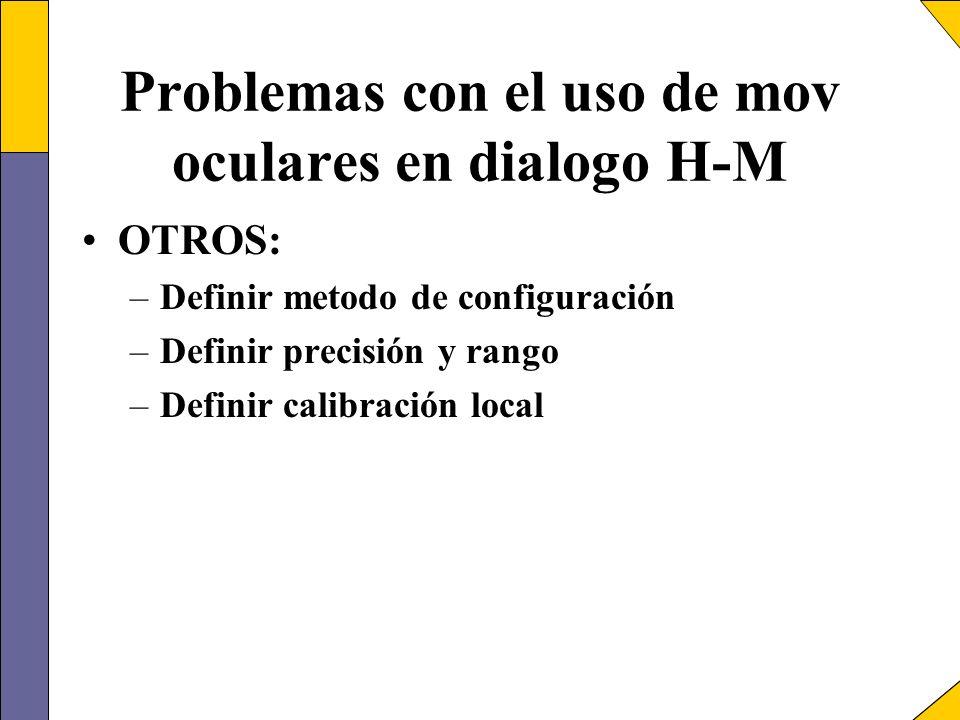 Problemas con el uso de mov oculares en dialogo H-M OTROS: –Definir metodo de configuración –Definir precisión y rango –Definir calibración local