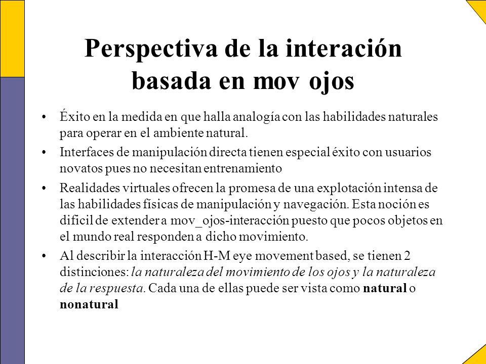 Perspectiva de la interación basada en mov ojos Éxito en la medida en que halla analogía con las habilidades naturales para operar en el ambiente natu