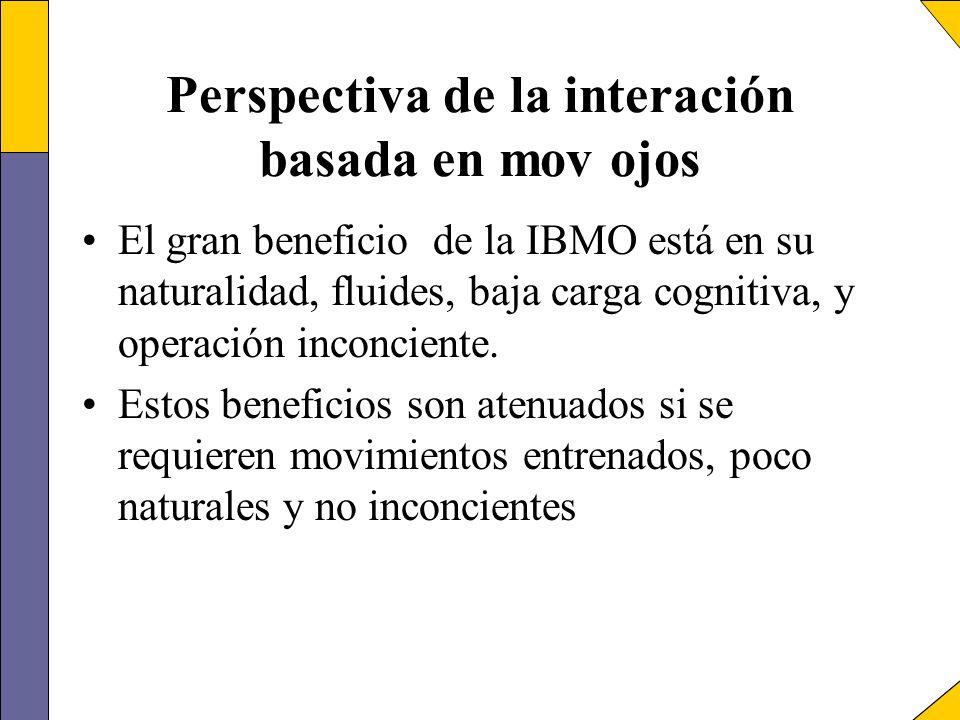 Perspectiva de la interación basada en mov ojos El gran beneficio de la IBMO está en su naturalidad, fluides, baja carga cognitiva, y operación inconc