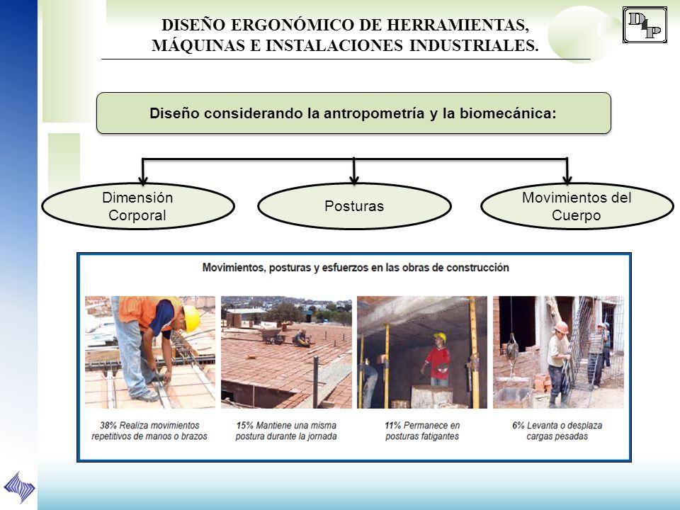 DISEÑO ERGONÓMICO DE HERRAMIENTAS, MÁQUINAS E INSTALACIONES INDUSTRIALES. Diseño considerando la antropometría y la biomecánica: Dimensión Corporal Po