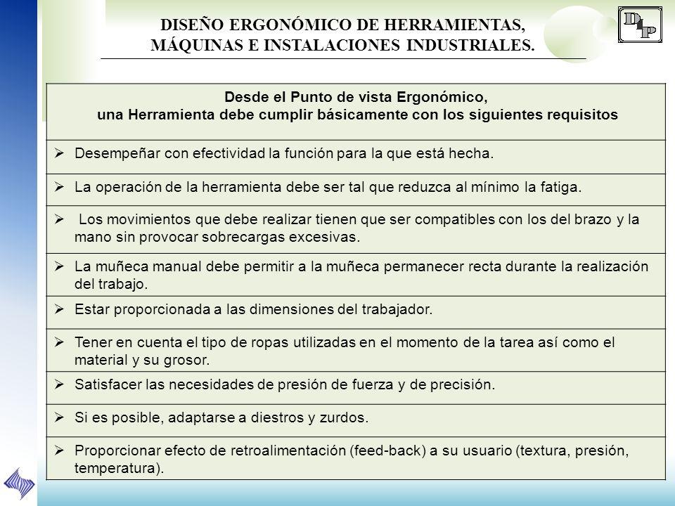 DISEÑO ERGONÓMICO DE HERRAMIENTAS, MÁQUINAS E INSTALACIONES INDUSTRIALES.