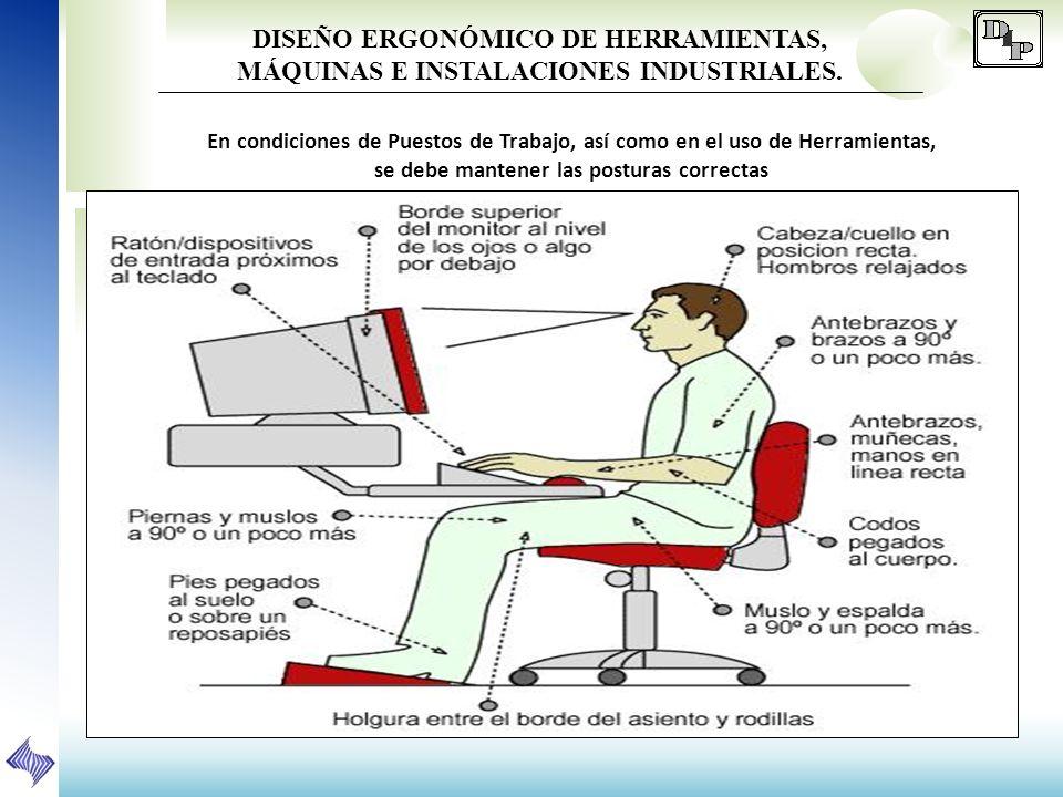 DISEÑO ERGONÓMICO DE HERRAMIENTAS, MÁQUINAS E INSTALACIONES INDUSTRIALES. En condiciones de Puestos de Trabajo, así como en el uso de Herramientas, se