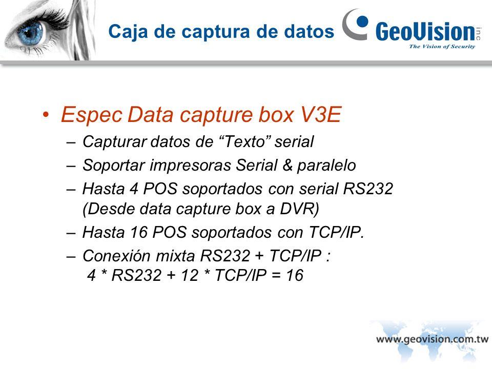 Caja de captura de datos Espec Data capture box V3E –Capturar datos de Texto serial –Soportar impresoras Serial & paralelo –Hasta 4 POS soportados con