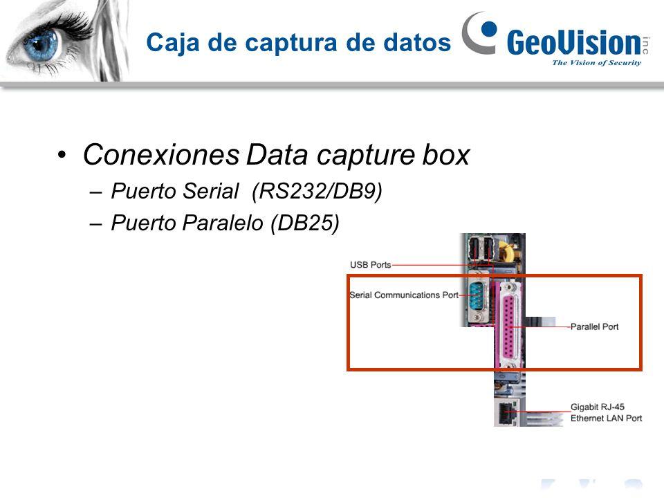 Caja de captura de datos Conexiones Data capture box –Puerto Serial (RS232/DB9) –Puerto Paralelo (DB25)