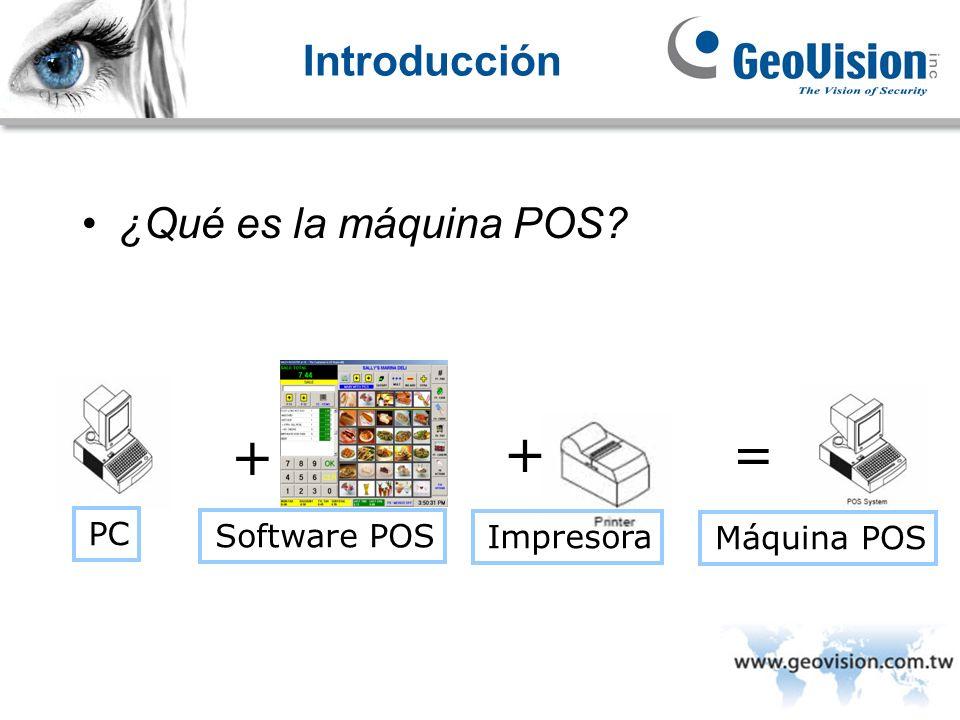 Introducción ¿Qué es la máquina POS? PC Software POS + Máquina POS = Impresora +