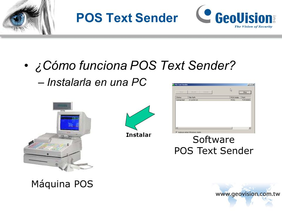 POS Text Sender ¿Cómo funciona POS Text Sender? –Instalarla en una PC Máquina POS Instalar Software POS Text Sender