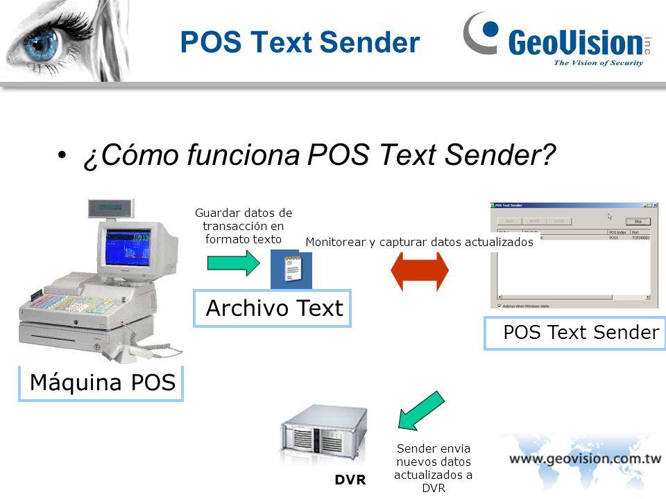 POS Text Sender ¿Cómo funciona POS Text Sender? Máquina POS Archivo Text DVR POS Text Sender Monitorear y capturar datos actualizados Guardar datos de