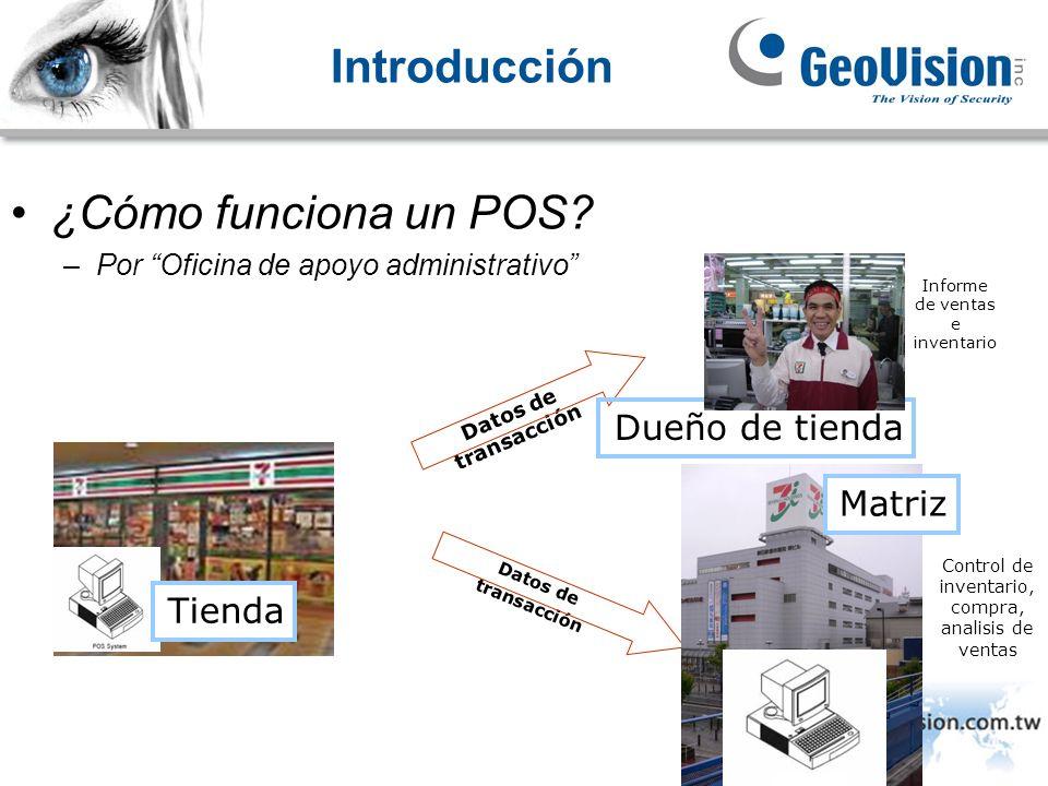 Introducción ¿Cómo funciona un POS? –Por Oficina de apoyo administrativo Tienda Datos de transacción Control de inventario, compra, analisis de ventas