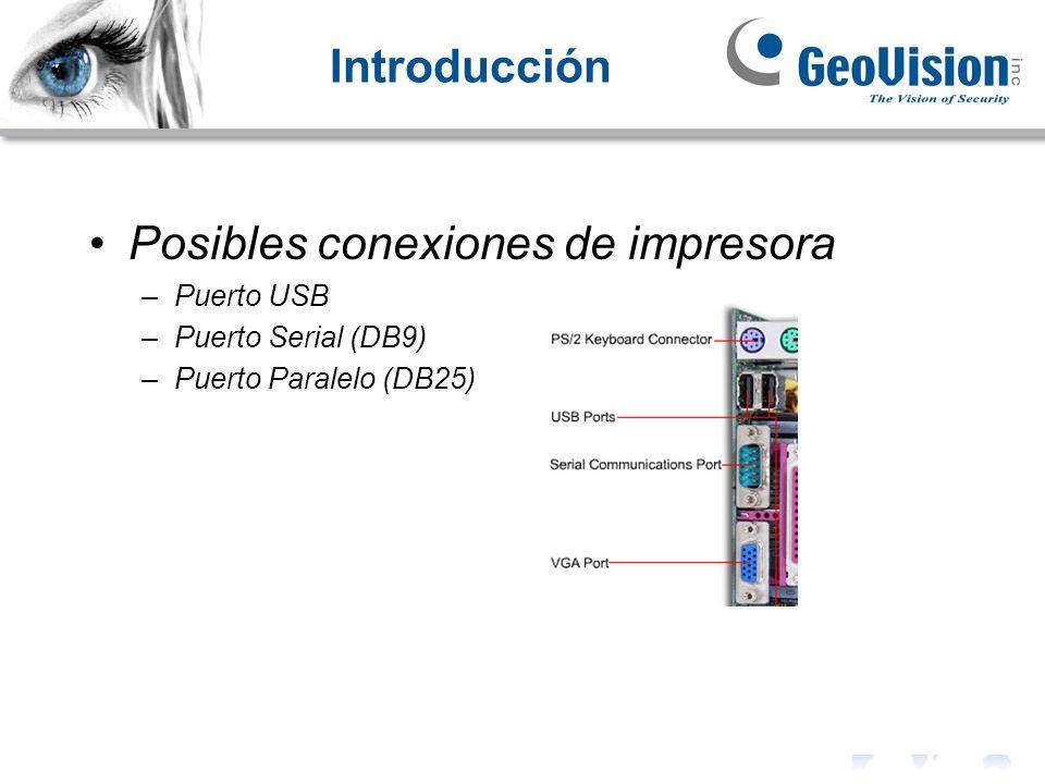 Introducción Posibles conexiones de impresora –Puerto USB –Puerto Serial (DB9) –Puerto Paralelo (DB25)