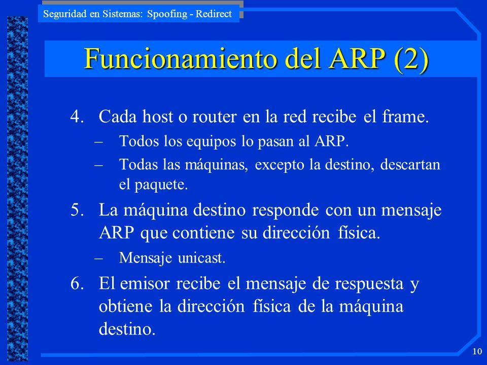 Seguridad en Sistemas: Spoofing - Redirect 10 4.Cada host o router en la red recibe el frame. –Todos los equipos lo pasan al ARP. –Todas las máquinas,