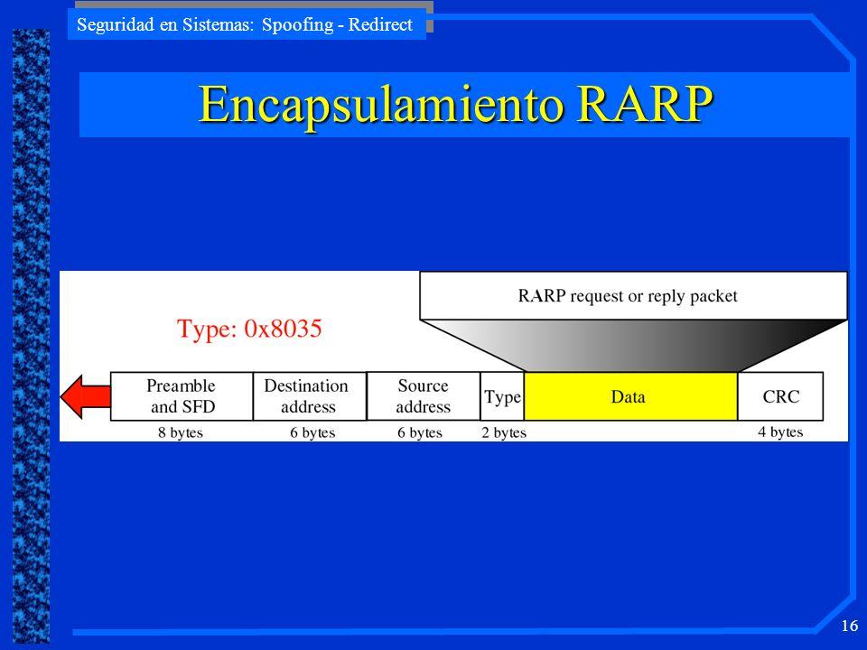 Seguridad en Sistemas: Spoofing - Redirect 16 Encapsulamiento RARP