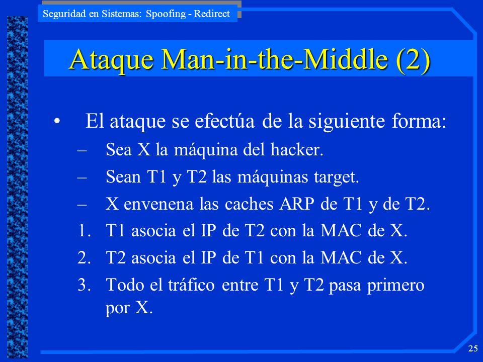 Seguridad en Sistemas: Spoofing - Redirect 25 El ataque se efectúa de la siguiente forma: –Sea X la máquina del hacker. –Sean T1 y T2 las máquinas tar