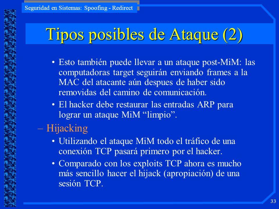 Seguridad en Sistemas: Spoofing - Redirect 33 Esto también puede llevar a un ataque post-MiM: las computadoras target seguirán enviando frames a la MA
