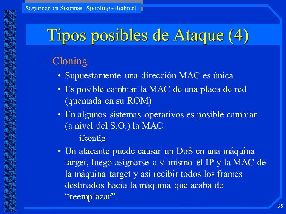 Seguridad en Sistemas: Spoofing - Redirect 35 –Cloning Supuestamente una dirección MAC es única. Es posible cambiar la MAC de una placa de red (quemad