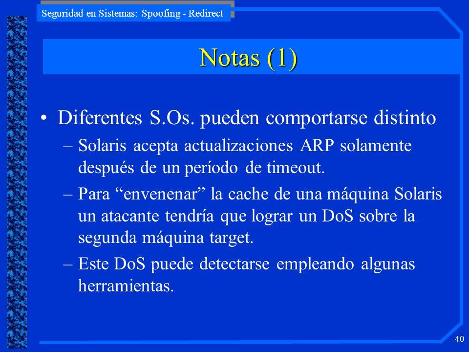 Seguridad en Sistemas: Spoofing - Redirect 40 Diferentes S.Os. pueden comportarse distinto –Solaris acepta actualizaciones ARP solamente después de un