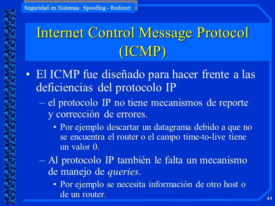 Seguridad en Sistemas: Spoofing - Redirect 44 InternetControlMessageProtocol (ICMP) Internet Control Message Protocol (ICMP) El ICMP fue diseñado para