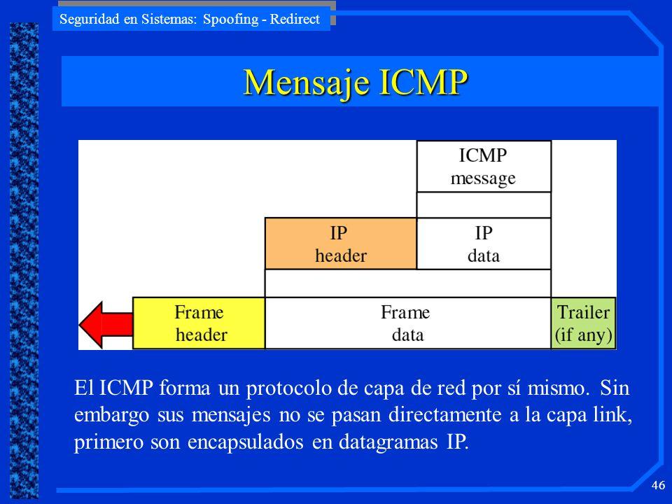 Seguridad en Sistemas: Spoofing - Redirect 46 El ICMP forma un protocolo de capa de red por sí mismo. Sin embargo sus mensajes no se pasan directament