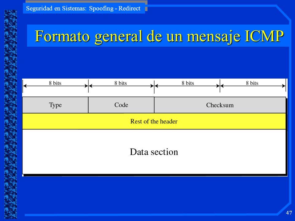 Seguridad en Sistemas: Spoofing - Redirect 47 Formato general de un mensaje ICMP