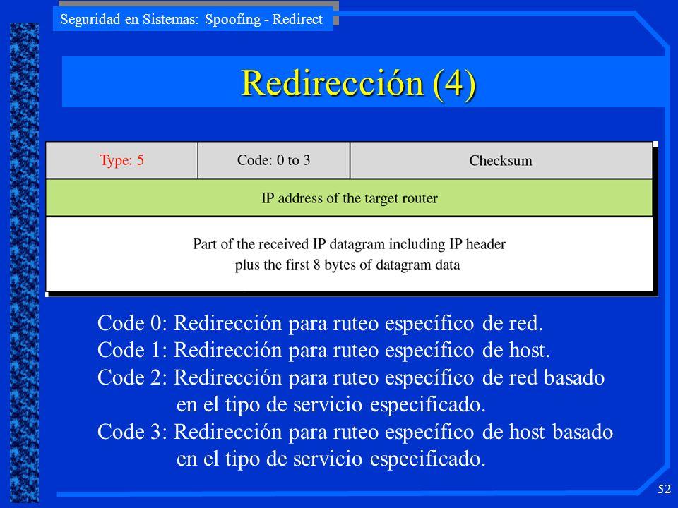 Seguridad en Sistemas: Spoofing - Redirect 52 Code 0: Redirección para ruteo específico de red. Code 1: Redirección para ruteo específico de host. Cod