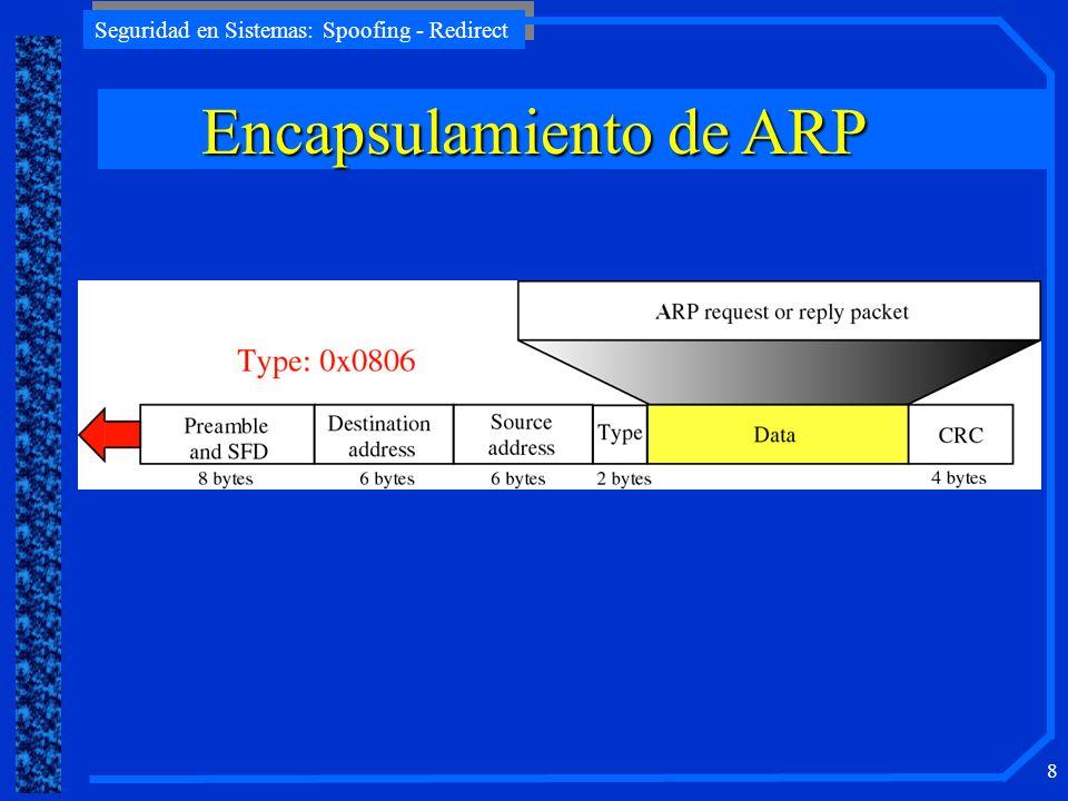 Seguridad en Sistemas: Spoofing - Redirect 29 T1 IP:10.0.0.1 MAC:aa:aa:aa:aa T2 IP:10.0.0.2 MAC:bb:bb:bb:bb Hacker IP:10.0.0.3 MAC:cc:cc:cc:cc switch IPMAC 10.0.0.2cc:cc:cc:cc ARP cache IPMAC 10.0.0.1cc:cc:cc:cc ARP cache La cache de T2 fue envenenada.