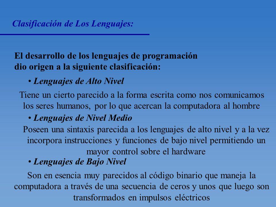 Clasificación de las Instrucciones: Cada lenguaje de programación tiene un conjunto de instrucciones, las cuales se dividen en las siguientes clasific