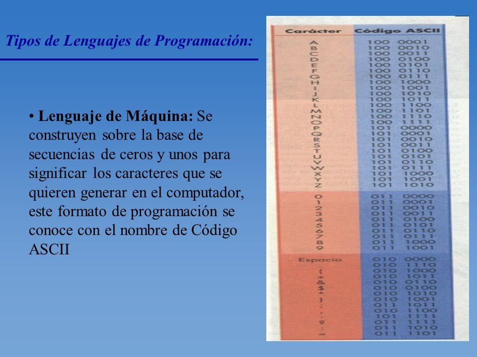 Clasificación de Los Lenguajes: El desarrollo de los lenguajes de programación dio origen a la siguiente clasificación: Lenguajes de Alto Nivel Tiene