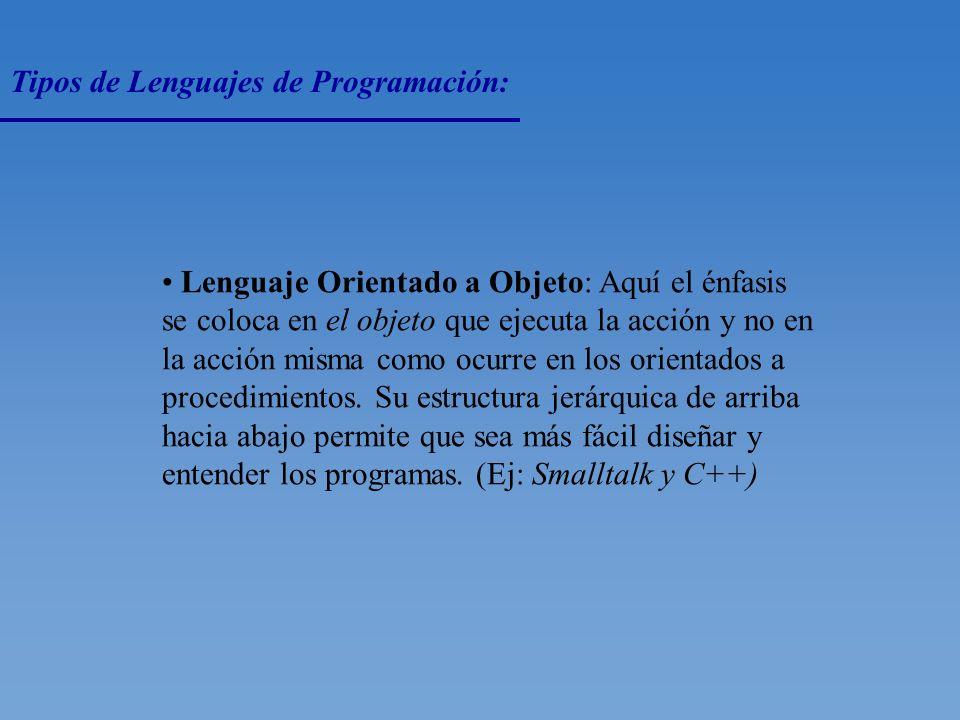 Tipos de Lenguajes de Programación: Lenguajes Orientados a Procedimientos: Permiten escribir una sola instrucción en lugar de numerosas y fastidiosas