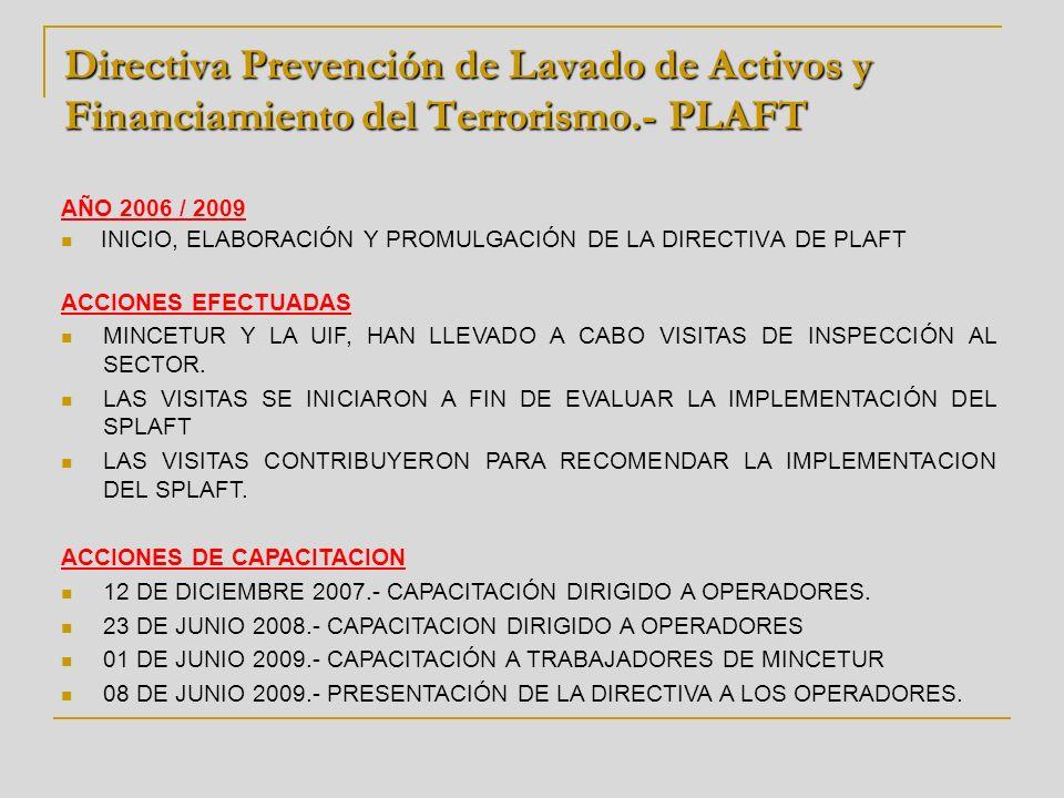 Directiva Prevención de Lavado de Activos y Financiamiento del Terrorismo.- PLAFT AÑO 2006 / 2009 INICIO, ELABORACIÓN Y PROMULGACIÓN DE LA DIRECTIVA D