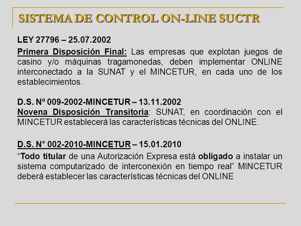 SISTEMA DE CONTROL ON-LINE SUCTR LEY 27796 – 25.07.2002 Primera Disposición Final: Las empresas que explotan juegos de casino y/o máquinas tragamoneda