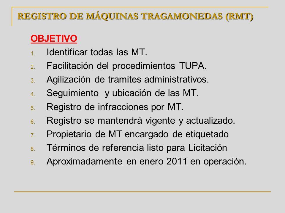 REGISTRO DE MÁQUINAS TRAGAMONEDAS (RMT) OBJETIVO 1. Identificar todas las MT. 2. Facilitación del procedimientos TUPA. 3. Agilización de tramites admi