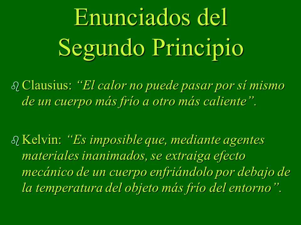 Enunciados del Segundo Principio b Clausius: El calor no puede pasar por sí mismo de un cuerpo más frío a otro más caliente. b Kelvin: Es imposible qu