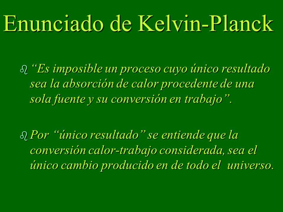Enunciado de Kelvin-Planck b Es imposible un proceso cuyo único resultado sea la absorción de calor procedente de una sola fuente y su conversión en trabajo.
