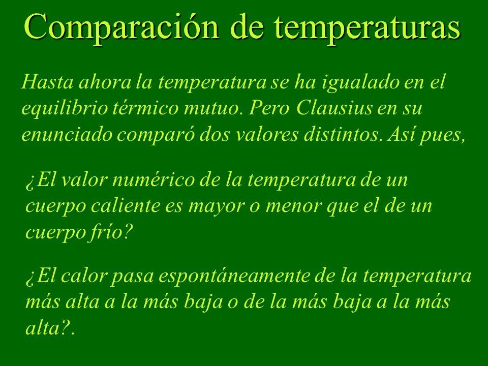 Comparación de temperaturas Comparación de temperaturas Hasta ahora la temperatura se ha igualado en el equilibrio térmico mutuo. Pero Clausius en su