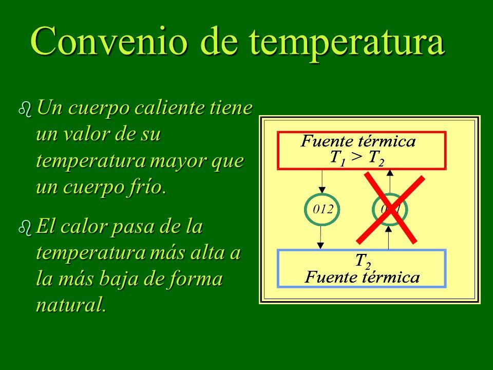 Convenio de temperatura b Un cuerpo caliente tiene un valor de su temperatura mayor que un cuerpo frío. b El calor pasa de la temperatura más alta a l