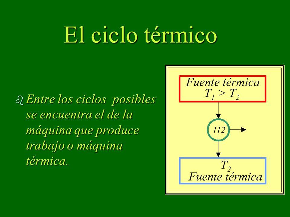 El ciclo térmico b Entre los ciclos posibles se encuentra el de la máquina que produce trabajo o máquina térmica.