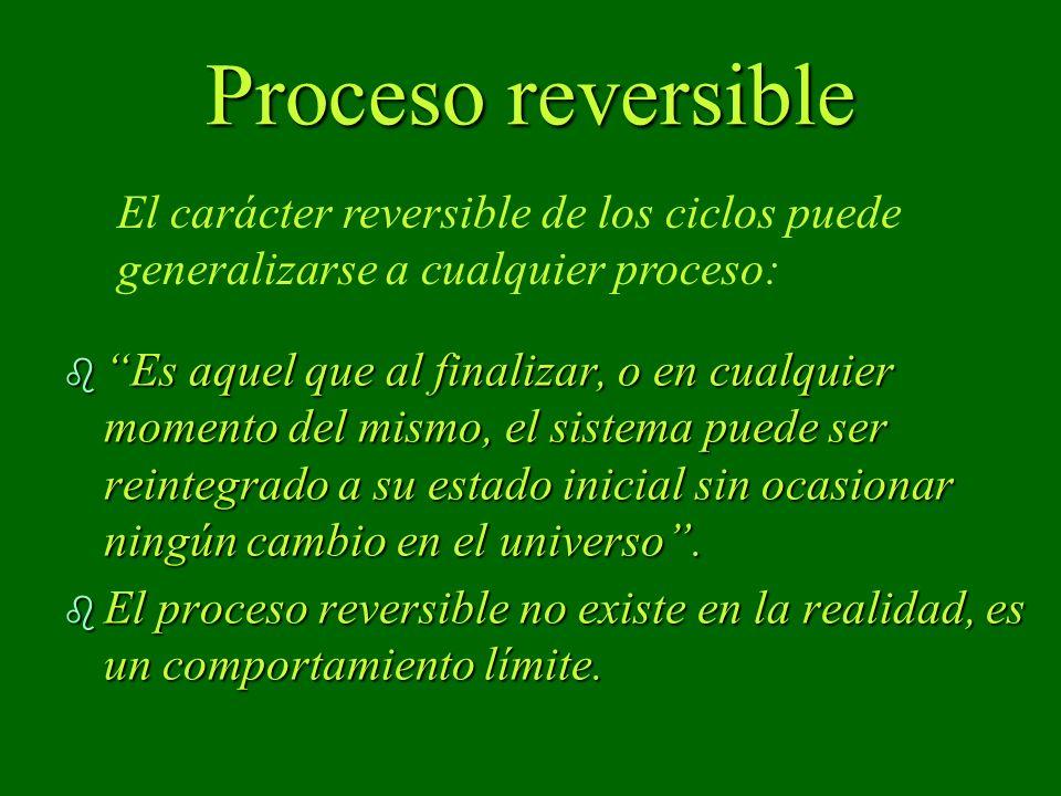 Proceso reversible b Es aquel que al finalizar, o en cualquier momento del mismo, el sistema puede ser reintegrado a su estado inicial sin ocasionar ningún cambio en el universo.